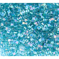 5mm Miyuki Half Tila Beads, Rainbow Dark Teal, 10 Gram Bag