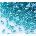 5mm Miyuki Half Tila Beads, Rainbow Dark Teal, 10 Gram Bag
