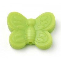 Light Green Silicone Bead, 25mm Large Butterfly