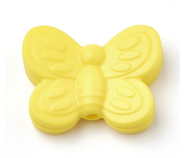 Sun Yellow Silicone Bead, 25mm Large Butterfly