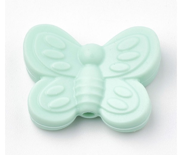 Light Teal Silicone Bead, 25mm Large Butterfly