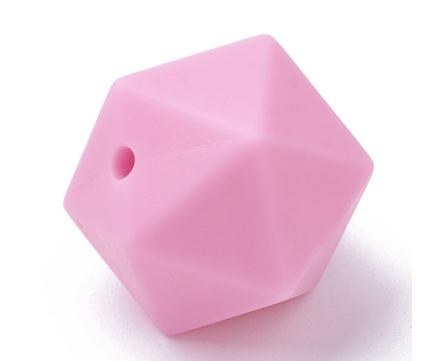 Bright Pink Silicone Bead, 14mm Hexagon Round