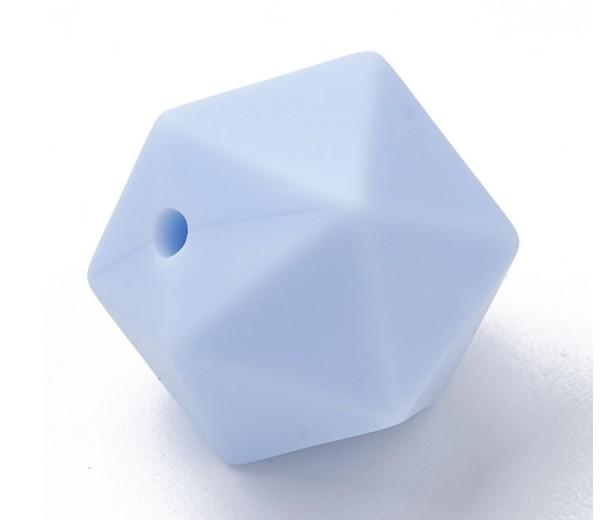 Powder Blue Silicone Bead, 14mm Hexagon Round