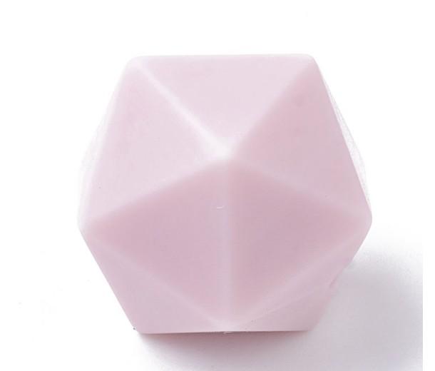 Pastel Pink Silicone Bead, 14mm Hexagon Round