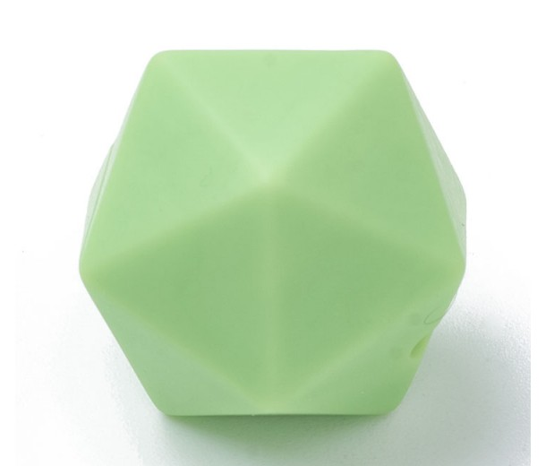 Green Silicone Bead, 14mm Hexagon Round