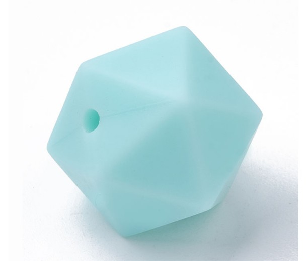 Teal Blue Silicone Bead, 14mm Hexagon Round