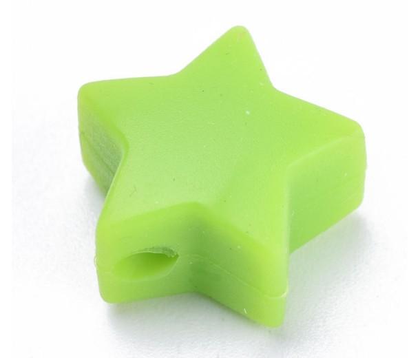 Light Green Silicone Bead, 14mm Flat Star