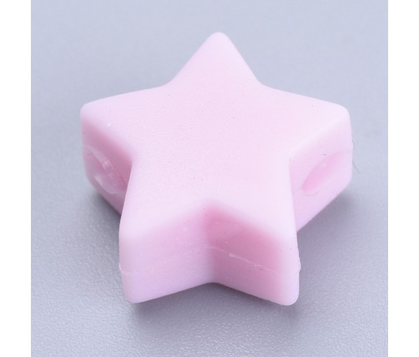 Pastel Pink Silicone Bead, 14mm Flat Star