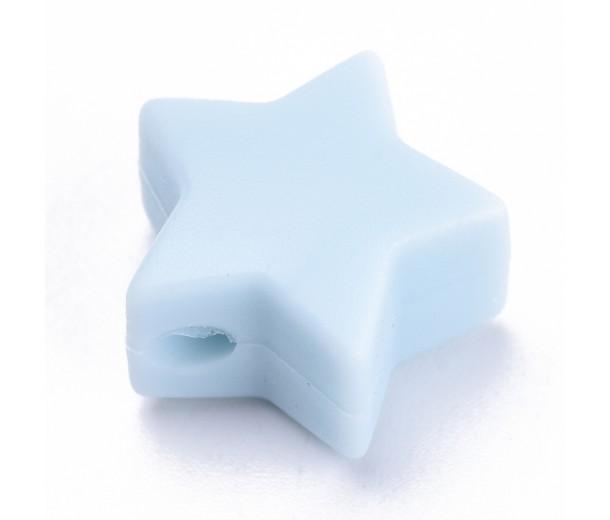 Powder Blue Silicone Bead, 14mm Flat Star