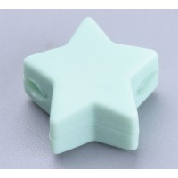Light Teal Silicone Bead, 14mm Flat Star