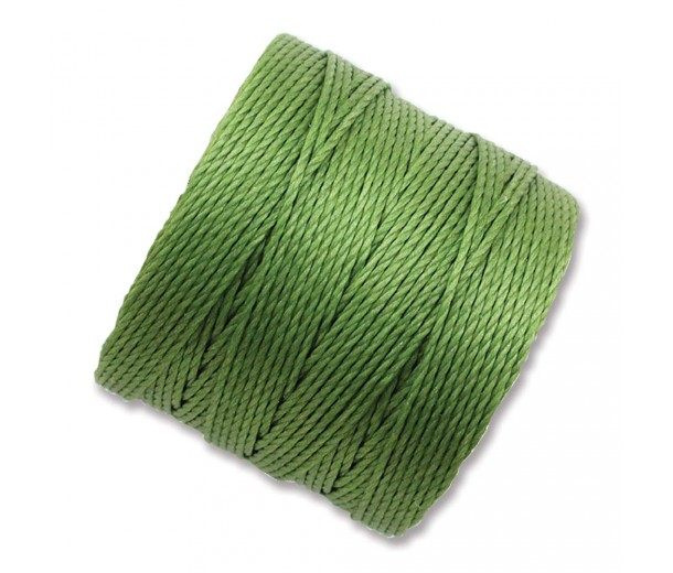 S-Lon Regular Tex 210 Bead Cord (0.5mm), Avocado Green, 77 Yard Spool