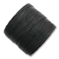 S-Lon Regular Tex 210 Bead Cord (0.5mm), Black, 77 Yard Spool