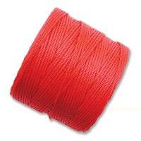 S-Lon Regular Tex 210 Bead Cord (0.5mm), Coral Red, 77 Yard Spool