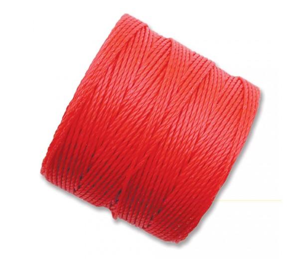 S-Lon Regular Tex 210 Bead Cord (0.5mm), Coral Red, 77 Yard Spool