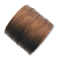 S-Lon Regular Tex 210 Bead Cord (0.5mm), Brown, 77 Yard Spool