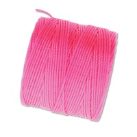 S-Lon Regular Tex 210 Bead Cord (0.5mm), Neon Pink, 77 Yard Spool