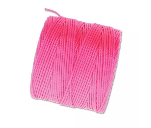 S-Lon Regular Tex 210 Bead Cord (0.5mm), Neon Pink, 77 Yard Spool