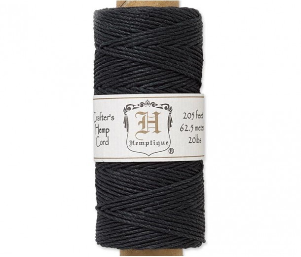 1mm Black Polished Hemp Cord by Hemptique