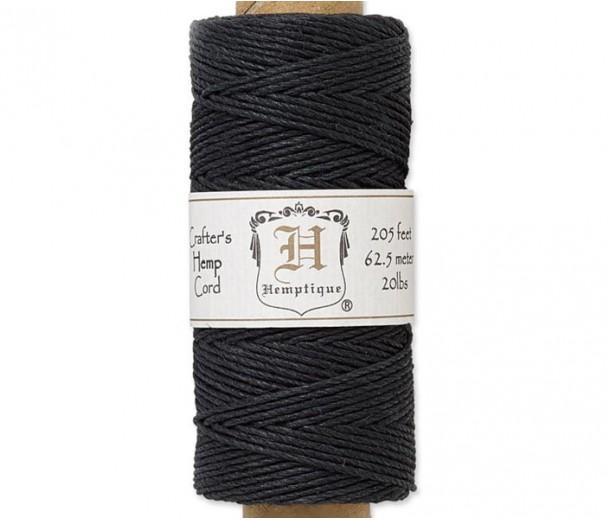 1mm Black Polished Hemp Cord by Hemptique