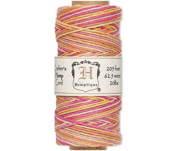 1mm Multicolor Taffy Polished Hemp Cord by Hemptique