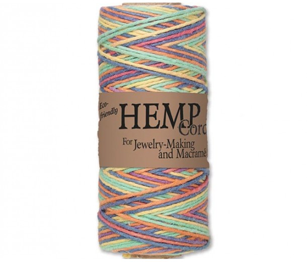 1mm Multicolor Rainbow Unpolished Hemp Cord by Hemptique