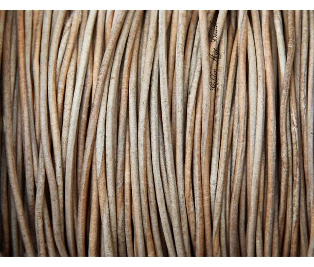 0.5mm Natural Color Round Leather Cord, Sold by Yard