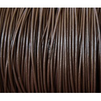 1mm Chocolate Round Leather Cord, Sold by Yard