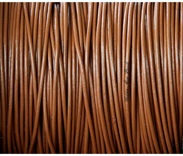 1mm Light Brown Round Leather Cord, Sold by Yard