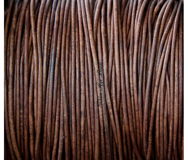 1mm Matte Red Brown Round Leather Cord, Sold by Yard
