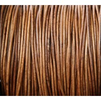 1mm Matte Light Brown Round Leather Cord, Sold by Yard