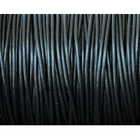 2mm Black Round Leather Cord, Sold by Yard