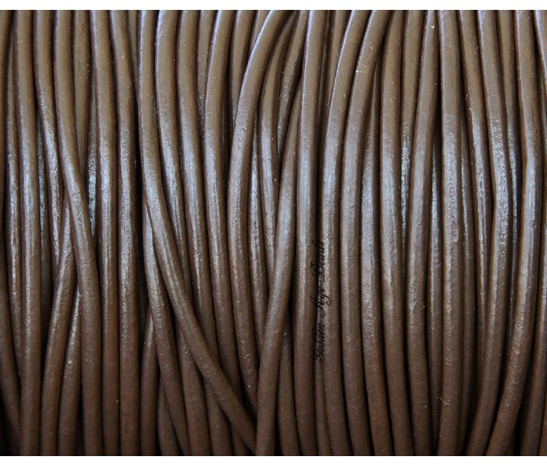 2mm Chocolate Round Leather Cord, Sold by Yard