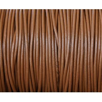 2mm Light Brown Round Leather Cord, Sold by Yard