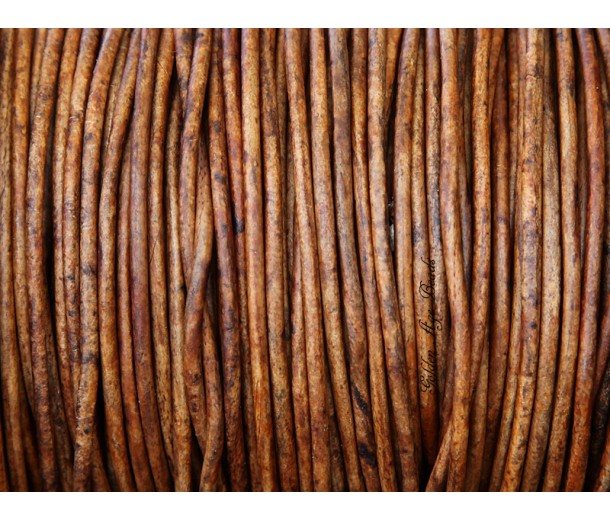 2mm Matte Light Brown Round Leather Cord, Sold by Yard