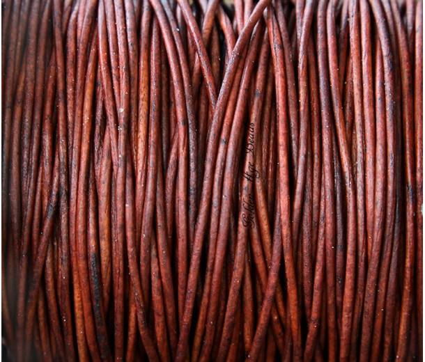 2mm Matte Turkey Red Round Leather Cord, Sold by Yard