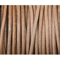 3mm Natural Color Round Leather Cord, Sold by Yard