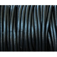 5mm Black Round Leather Cord, Sold by Yard