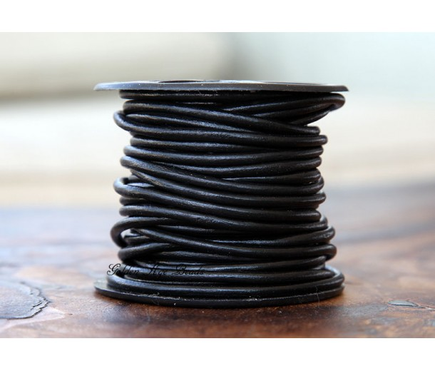 3mm Black Round Leather Cord, Sold by Yard