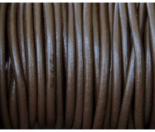 3mm Chocolate Round Leather Cord, Sold by Yard
