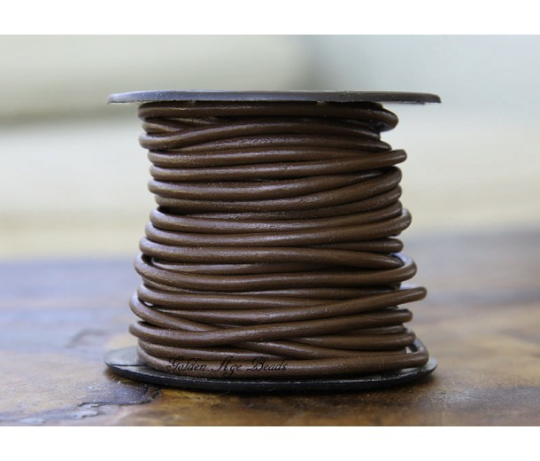 3mm Chocolate Round Leather Cord