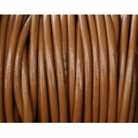 3mm Light Brown Round Leather Cord, Sold by Yard