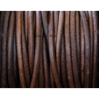 3mm Matte Red Brown Round Leather Cord, Sold by Yard