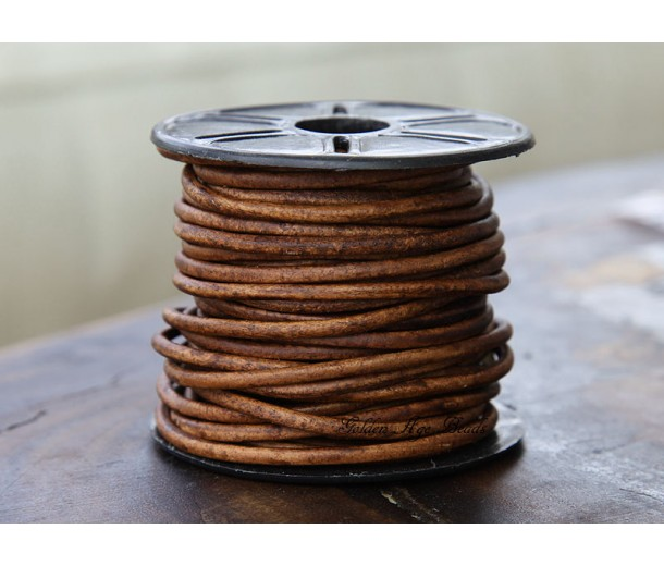 3mm Matte Light Brown Round Leather Cord, Sold by Yard