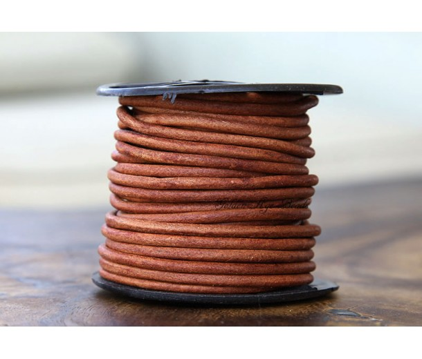 3mm Natural Turkey Red Round Leather Cord