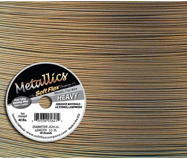 .024 Antique Brass Soft Flex® Metallics Wire, 30 Foot Spool