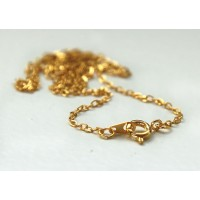 18 Inch Finished Regular Cable Chain, 1.5mm Thick, Gold Tone