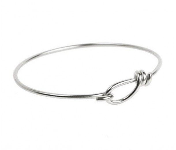 Wire Bangle Bracelet by TierraCast, Silver Plated