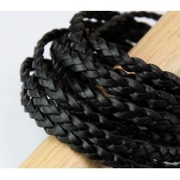 5mm Black Flat Braided Leather Cord, Pack of 2 Meters