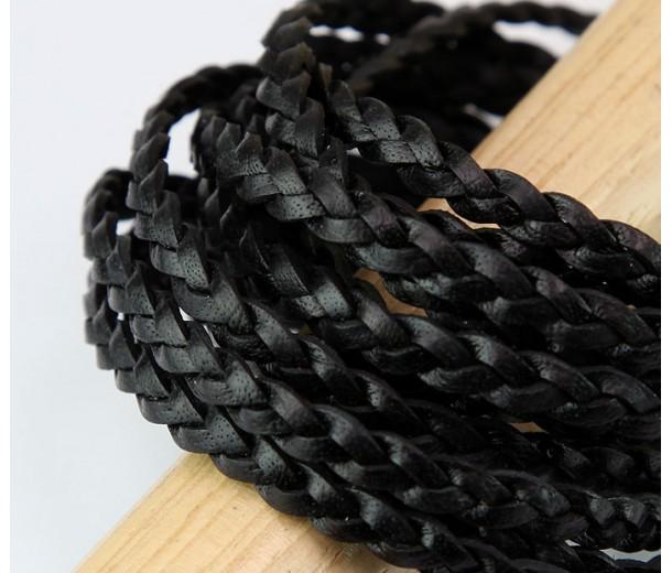 5mm Black Flat Braided Leather Cord