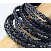 5mm Natural Midnight Blue Flat Braided Leather Cord